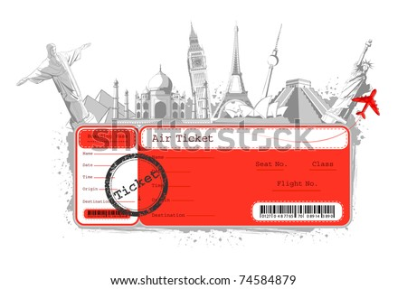 illustration of flight ticket with famous monument around the world - stock vector