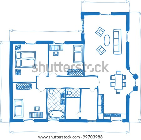 Illustration of floor plan of house, doodle style