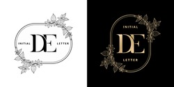 illustration of floral frame for DE initial letter and graphic name, D and E Monogram, for Wedding couple symbolic, company and icon business, with two colors variation designs monochrome and golds.