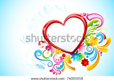 illustration of floral heart on abstract background