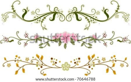 Illustration of Floral Ornaments with Different Designs