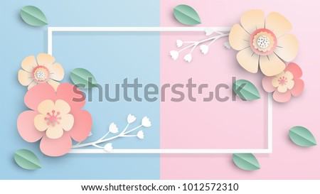 illustration of Floral rectangle frame with place for text. Spring paper cut frame with flowers. paper cut and craft style. vector, illustration.