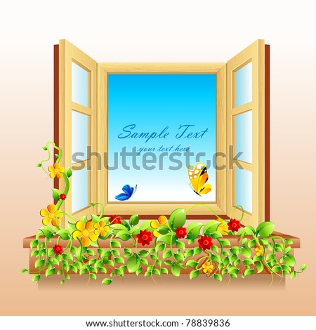 illustration of flower and butterfly in open window