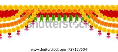 illustration of Flower garland decoration toran for Happy Diwali Holiday background