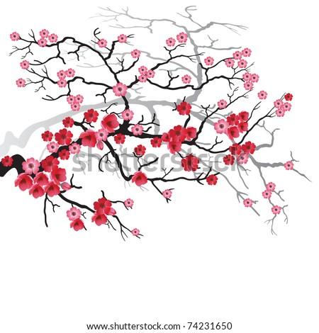 lukisan bunga sakura