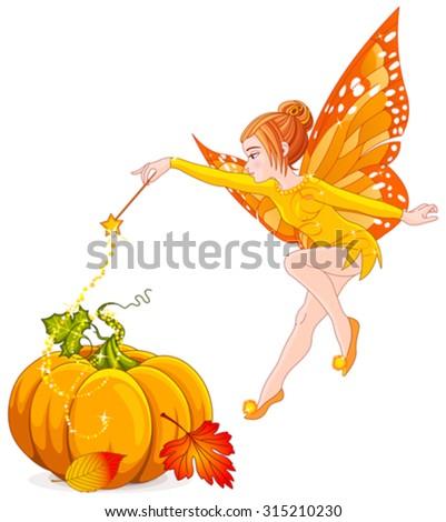 Stock Photo Illustration of flying autumn fairy
