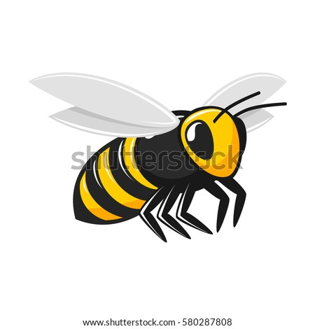 Illustration of flying bee isolated on white background. Insect icon. Vector EPS 10.