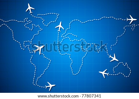 illustration of flying jet drawing world map