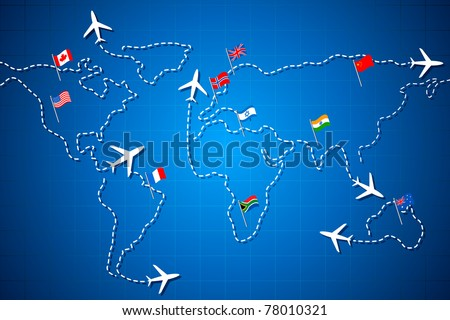 illustration of flying jet drawing world map with different country flag