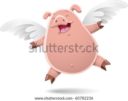 illustration of flying pig