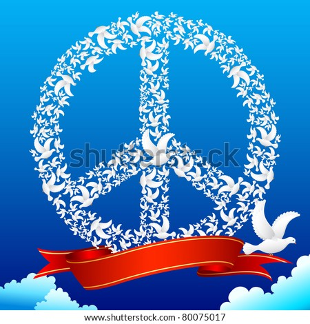 illustration of flying pigeon forming peace symbol in sky