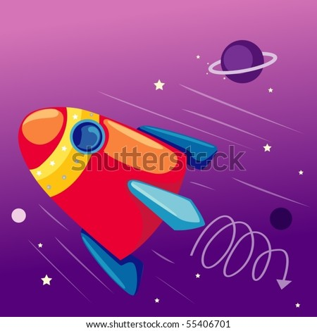 illustration of flying rocketship in the sky with stars