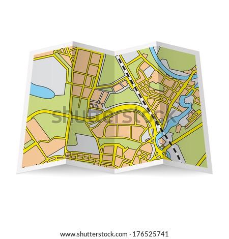 Illustration of folded booklet on white background - stock vector