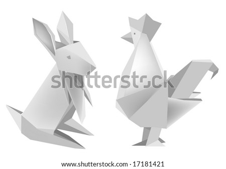 Illustration of folded paper models, rabbit and rooster on white background, Vector illustration.