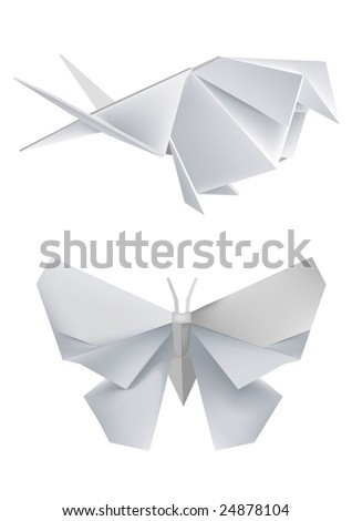 Illustration of folded paper models swallow and butterfly Vector illustration