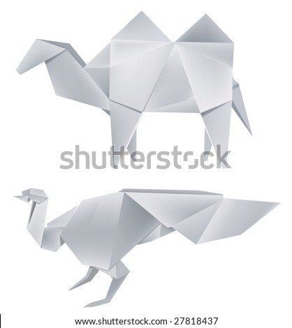 Illustration of folded paper models the  peacock and the camel . Vector illustration.