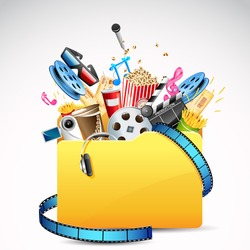 illustration of folder full of entertainment and cinema object