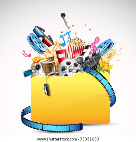 illustration of folder full of entertainment and cinema object stock photo