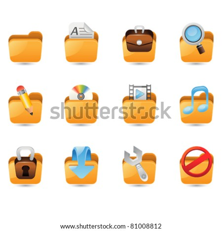Illustration of folder icon set