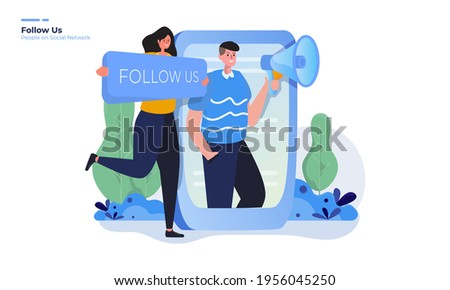 Illustration of follow us, People request to follow it for social network concept Сток-фото ©