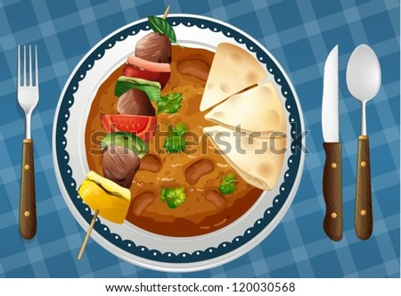 illustration of Food and a bread on a white background