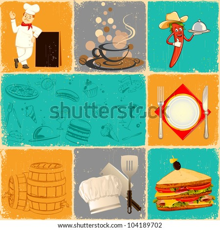 illustration of food collage in retro style