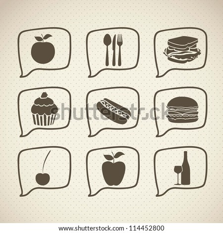 illustration of food icons and web, with brown lines, vector illustration