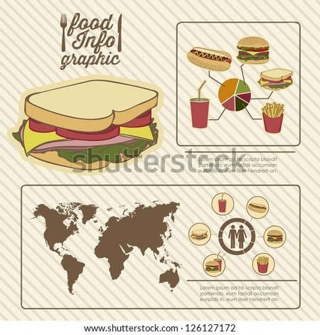 Illustration of food infographics, with food icons, vector illustration