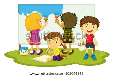 Illustration of four children painting