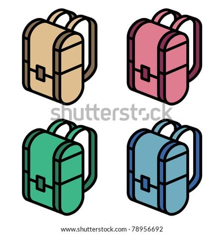 illustration of four color backpacks