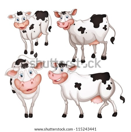 illustration of four cows on a