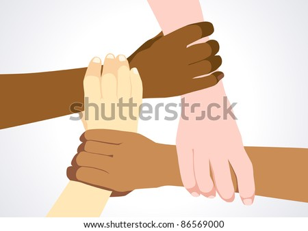 Illustration of four human hands from different ethnics holding each other