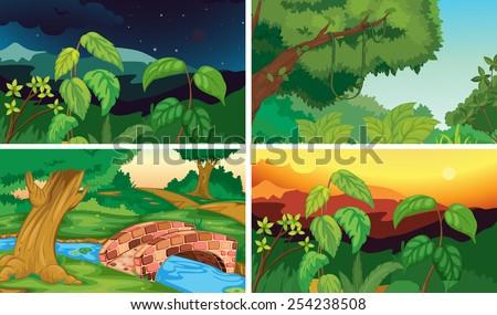 illustration of four scenes of