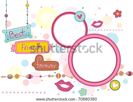 Illustration of Frames and Signboards Featuring the Words Best Friends Forever