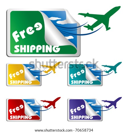 illustration of free shipping tags on isolated white background