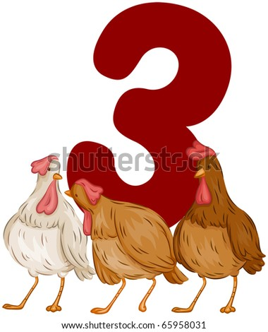 Illustration of French Hens Standing in Front of a Number 3