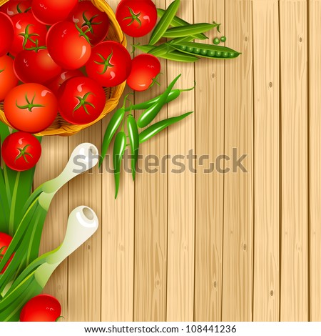 illustration of fresh vegetables on wooden chopping board