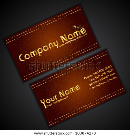 illustration of front and back of corporate business card in leather texture