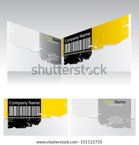 illustration of front and back of corporate business card with barcode