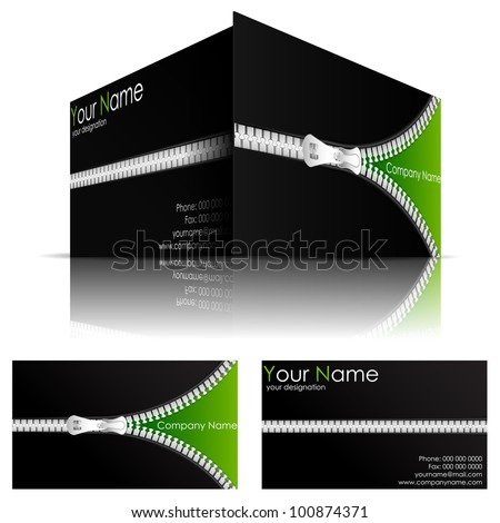 illustration of front and back of corporate business card with zipper