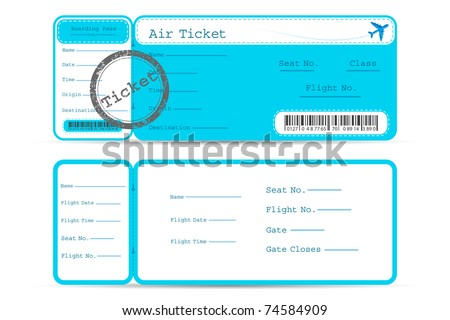 illustration of front and back part of flight ticket