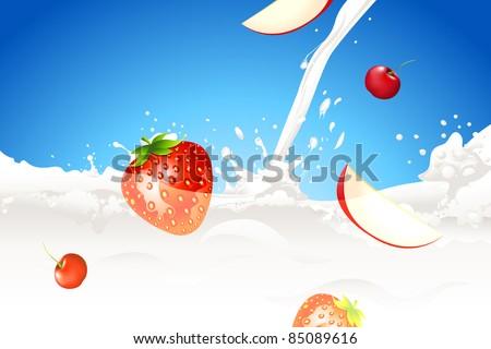 illustration of fruit in splashing milk on abstract background