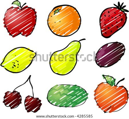 Illustration of fruits, hand-drawn look rough sketchy coloring