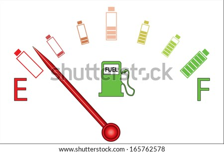 Illustration of fuel gauge with colorful batteries, on white background. Abstract fuel gauge with red indicator and vibrant color batteries. Raster available in my portfolio.