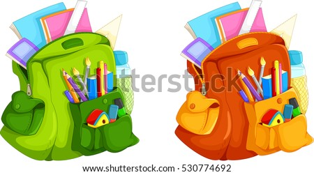 Illustration of full backpack of school supplies