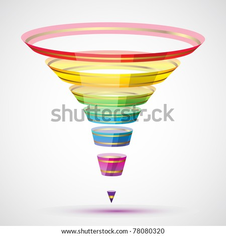 illustration of funnel shape in colorful stripe on abstract background