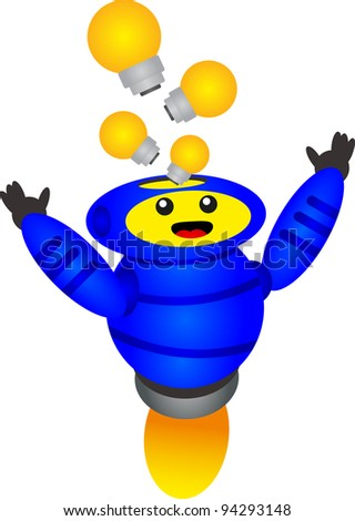 illustration of funny and cute blue robot