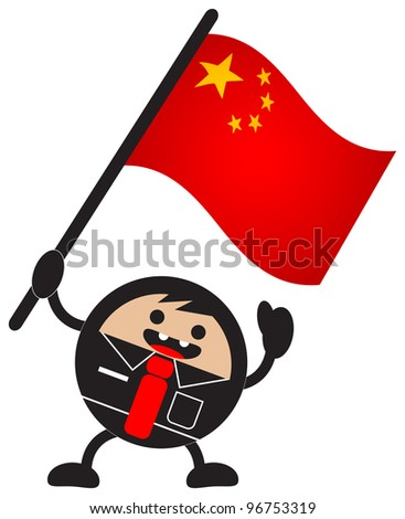 illustration of funny businessman character bring his nation flag