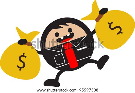 illustration of funny cartoon businessman character investment