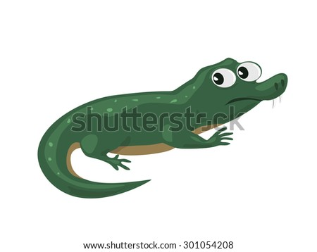 Illustration of funny cartoon crocodile on a white background